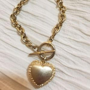 Aldo Accessories Heart Locket Gold Bracelet